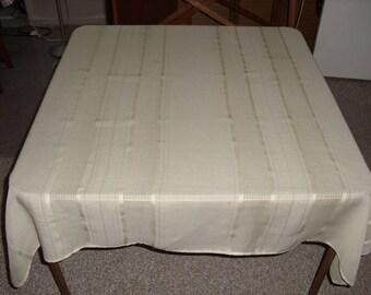 Open Weave Tablecloth.  Tan Color.