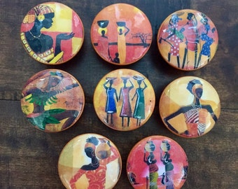 1.5 inch African art theme cabinet knobs drawer pulls women orange red green abstract