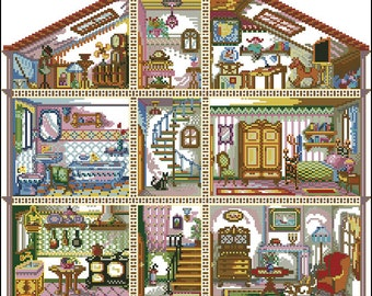 Doll House Digital Cross Stitch Pattern in PDF