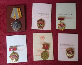 1970's  Set Soviet Medals / Order of Labour Glory 159 034 / Five-year Shock Worker  / Soviet Russian Badges / URSS Medals Vintage