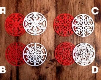 3D Printed Christmas Snowflake Decorations Coasters - Xmas Tree