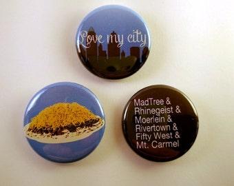 I Love Cincinnati - Set of 3 pinback buttons - beer brewery chili food skyline