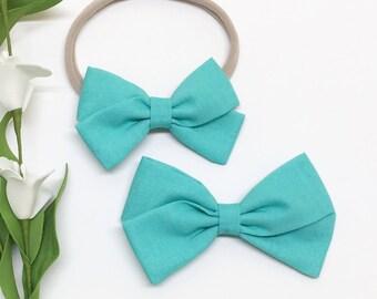 Baby Girl Hair Bows - Turquoise - hair bows - Clip or Headband