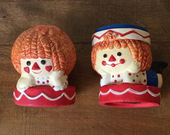 Vintage Raggedy Ann and Andy, Vintage Raggedy Ann and Andy Banks, Vintage Dan Dee Imports Banks