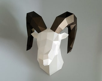 Be The Dall-sheep Head Low poly statues PDF for Paper craft. Make your own with this simple Wall decor