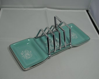 1950's blue, Midwinter, handpainted floral design with chrome stylecraft toast rack