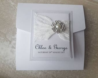 Lace Detail Pocketfold Including RSVP. Available in Any Colour to Suit your Wedding Theme. Sample Listing Only.
