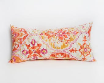 Orange Bolster Pillow, Orange, Bolster Pillow, Colorful Pillow, Outdoor Pillow, Coral Pillow, Patio Decor, Pillow, Coral, Pink, Yellow