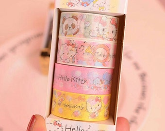 4 rolls of Hello Kitty Washi Tape Set Masking Tape Decorative Tape DIY Scrapbooking Planner Stickers Washi Tapes Set