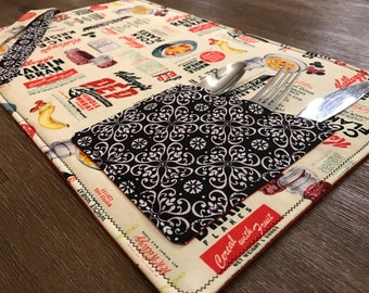KELLOGGS / placemat roll utenciles, portable place mat, for school, for work, placemat for lunchbox!