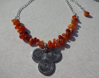 African Inspired Carnelian Statement Necklace