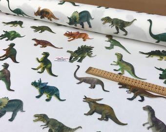 100% cotton linen look dinosaur fabric  MATERIAL 140cm wide