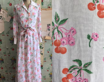 Vintage 1970s Novelty Cherry Print Peasant Maxi Dress. Small. White, red, pink. Gunne sax style.