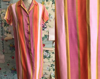Vintage 1960s Miss Smith Stripe Shift Dress. Medium. Pink, orange, yellow. Mod.