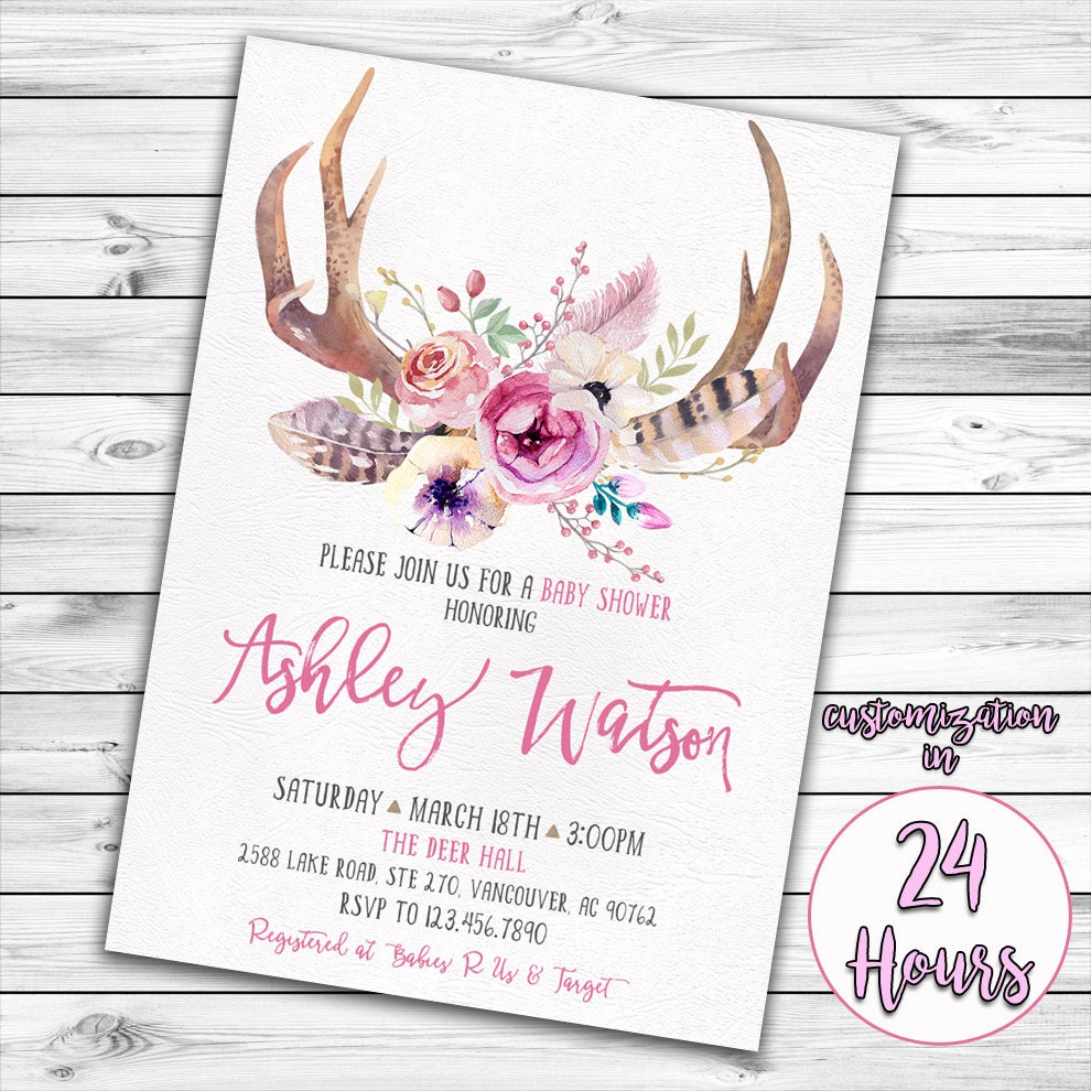 woodland baby shower | etsy, Baby shower invitations