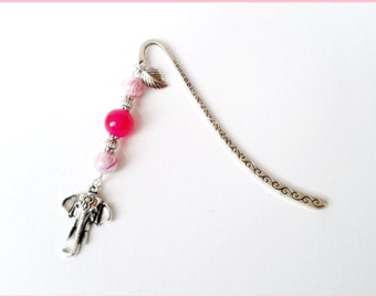 Silver Pink Elephant bookmark
