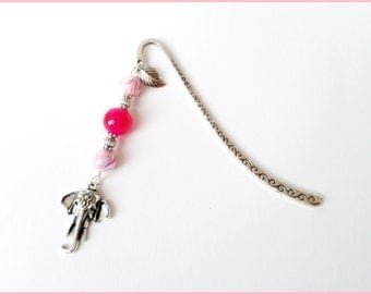 Silver Pink Elephant bookmark