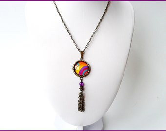 20 mm cabochon necklace multicolor metal bronze