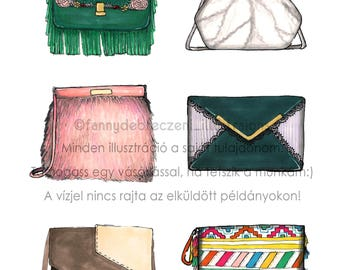 Bag Addiction Fashion Illustration Print