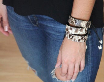 Python Bracelet Exotic Snakeskin Thin Python Cuff Python Bangle Leather Adjustable Handmade Gifts for Women, Christmas, Gift for Mom