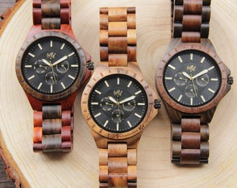 Set of 4 Groomsmen Wood Watches, Personalized Watches, Grooms watches, Father of the Groom gift, Mens watch, wooden watches for mens, gift,