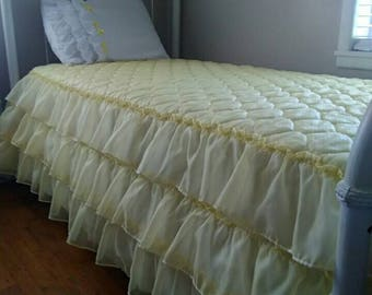 Vintage, Yellow, Princess, Three Tier Ruffled, (Twin) Bedspread with White, Ruffled Pillow Sham with Yellow Ribbon Bows