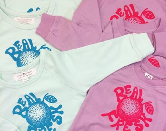Real Fresh New Baby Gift. Organic cotton, Screen Printed, Crewneck