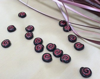 Red and black spiral glass beads - 16 pieces - #782