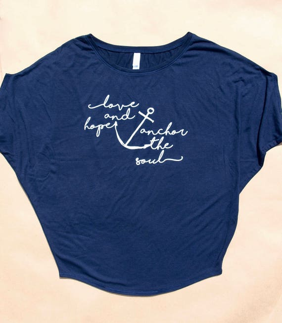 love and hope anchor the soul women's draped sleeve tee
