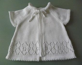 Christening jacket white short sleeve Raglan