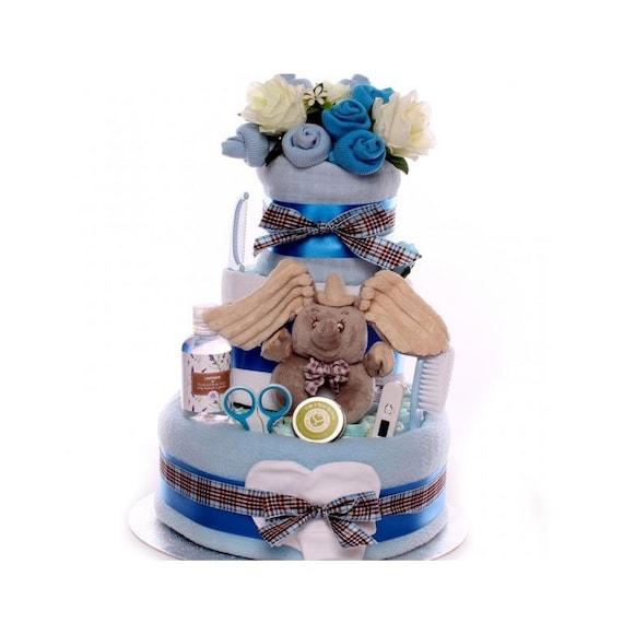 Dumbo Baby Boy Nappy Cake, nappy cake gift with Disney Dumbo Ring Rattle, 3 tier nappy cake, gift nappy cake baby boy, large nappy cake gift