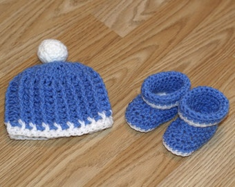 Baby hat and booties, Hat and booties, Baby gift, Baby boy hat, Baby shower gift, Newborn hat and booties, Photo prop, Ready to ship, SALE!