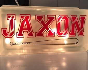 """Customized nightlight with your childs name 4""""x8"""" Frosted Glass Block with Lights."""