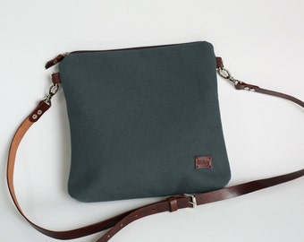 Gray blue Purse Canvas Bag Crossbody Bag Valentine gift Gift for her Casual Purse for her  Leather Handbags - model BC gray-blue