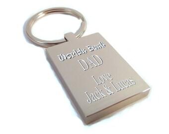 Customised engraved Worlds Best Dad chunky rectangle keyring