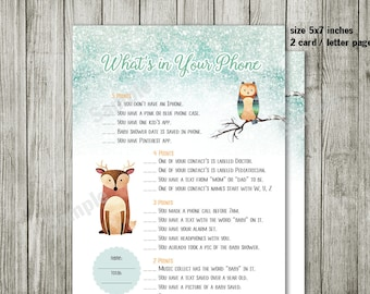 Game party - What's in Your Phone - Woodland baby shower invites with fox,Moose,Rabit, Bear - Gender Neutral, woodland  animal invitation