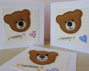 congratulations card , new baby, birth card, new baby girl card, new baby boy card, congratulations baby card, newborn card, teddy card