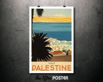 Visit Palestine Vintage Travel Poster, Wanderlust, Travel Prints, Ocean Art, Beach Print, Travel gift, Travel Decor, Travel Art, Vacation