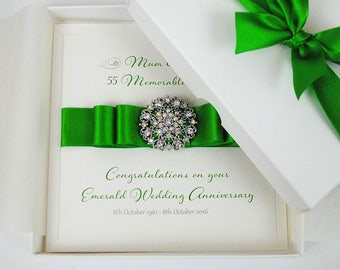Luxury Emerald Wedding Anniversary Card 55th Gift Boxed