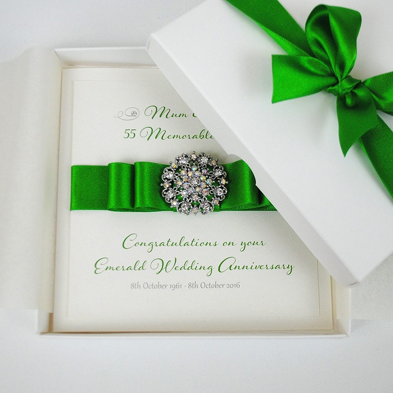 Luxury Emerald Wedding Anniversary Card // 55th Wedding