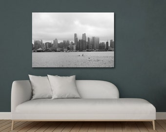 New York skyline photography print or canvas, black and white NYC skyline wall art, NYC home decor, City art photographym urban wall decor