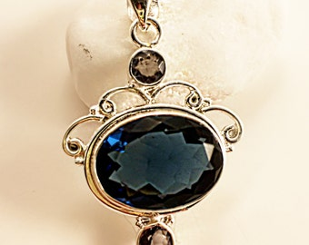 Blue African Amethyst With Iolite Accent .925 Silver Pendant