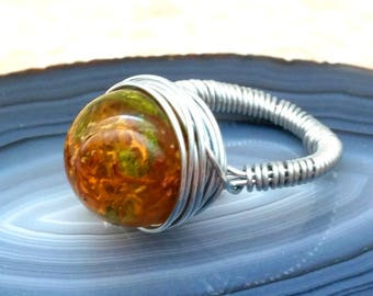 1. Solitaire ring, wire work, Resinkugel with MOSS, MOSS ring, silver, green, Brown, jewelry ring, Resinring