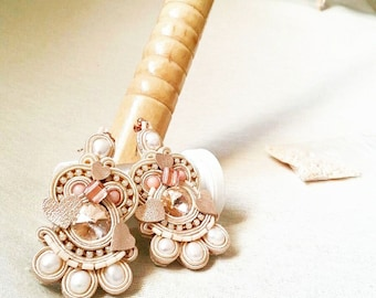 Amber white and cream soutache earrings, swarovski crystals, freshwater pearls and pink hearts