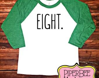 Eight Year Old Birthday Shirt, Eigth Birthday Boy Shirt, 8 Year Birthday Shirt, 8th Birthday Shirt, Birthday Boy Outfit, Raglan Shirt