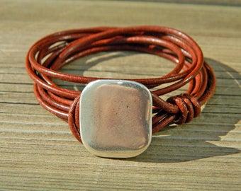 Wrap Boho bracelet,wrap bracelet,leather wrap bracelet,beaded wrap bracelet,leather bracelet, silver plated,beaded bracelet,PC020