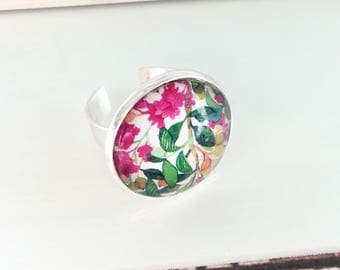 Floral cabochon ring 20mm chabochon
