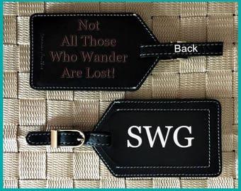 Luggage tags, custom luggage tag, monogram luggage tags, luggage tags personalized, personalized luggage tag, leather wedding gift Black
