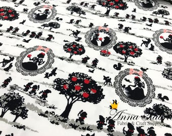 Japanese Fabric | Japanese Cotton Oxford Fabric | Kokka |  Silhouette Snow White