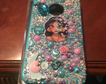 Half Princess and Skelton Face Bedazzled Phone Case